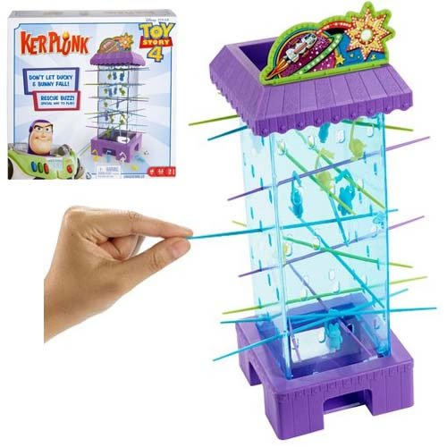 Toy Story 4 Kerplunk Game. Each player takes a turn rolling the die and pulling out a colorful stick -- whichever color the die indicates. Be careful not to let your favorite characters fall.