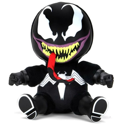 Venom 8 Inch Phunny Roto Plush. Measuring 8 Inches tall when seated, The Marvel Comics anti-hero is now a super-soft plush with rotoscoped hands and feet.