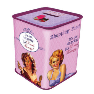 Retro Humor by Ephemera Shopping Collection Shopping-Therapy Fund Tin Savings Bank