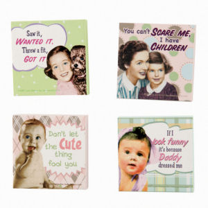 Retro Humor by Ephemera Raising Kids and Coffee Collection Vintage Baby Magnets Set of 4