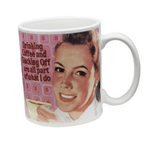 Retro Humor by Ephemera Raising Kids and Coffee Collection Drinking and Slacking 12 oz Decal Mug