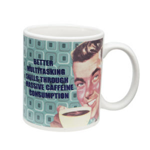 Retro Humor by Ephemera Raising Kids and Coffee Collection Better Multitasking 12 oz Decal Mug