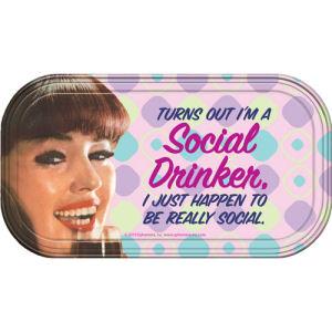 Retro Humor by Ephemera Social Drinker Magnetic Mini Tin Sign