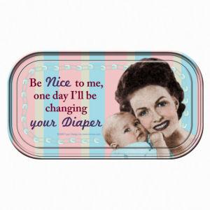 Retro Humor by Ephemera Raising Kids and Coffee Collection Nice and Diaper... Mini Tin Sign