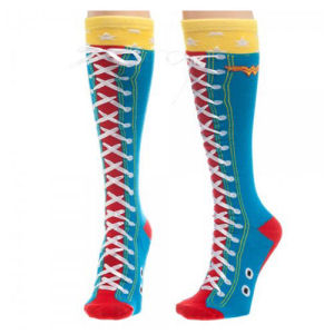 Wonder Woman Faux Lace Up Knee High Socks