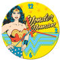 Wonder Woman 13.5 Inch Cordless Wood Wall Clock. Quartz movement wood cordless wall clock. Requires 1 AA battery. Open face color box packaging.