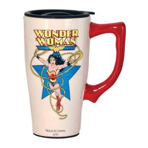 Wonder Woman White Travel Mug with Handle