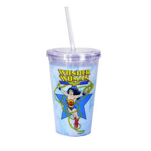 Wonder Woman Comic Book Art 16 Ounce Travel Cup with Straw
