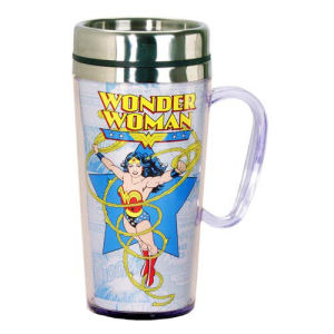 Wonder Woman Comic Panel White Insulated Travel Mug with Handle