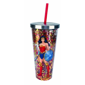 Wonder Woman Glitter Cup with Straw