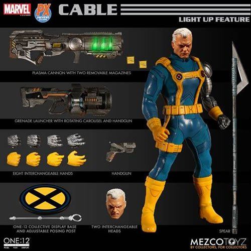 One:12 Collective Marvel Comics Cable (Exclusive Version) Action Figure. The X-Men Cable One:12 Collective Action Figure features a light-up function that illuminates his plasma cannon and techno-organic eye in both of his head sculpts. The telekinetic mu