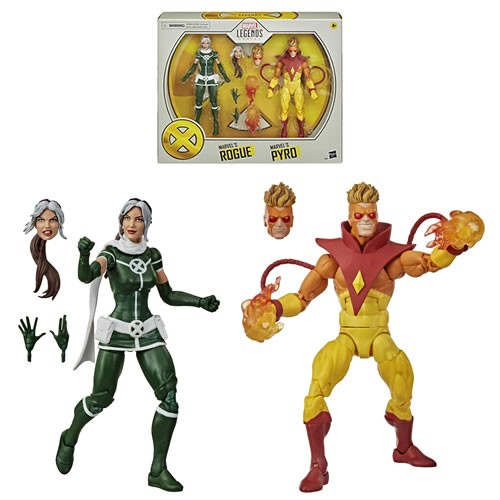 Marvel Legends X-Men 20th Anniversary Series Pyro And Rogue 2-Pack 6 Inch Action Figures.