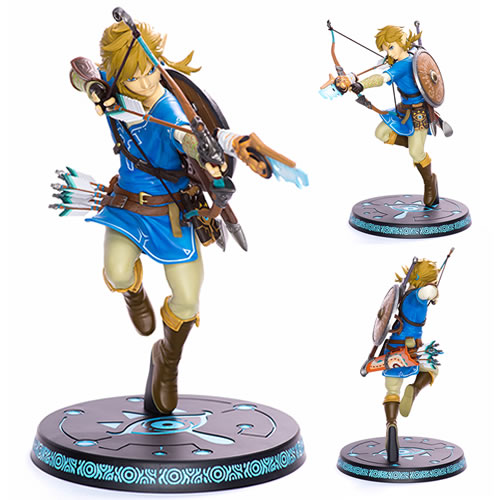 Legend Of Zelda Breath Of The Wild Link 10 Inch Statue. Exacting in all details this statue stands on a beautifully decorated base.Warrior Link fires an arrow straight into any gamers heart.